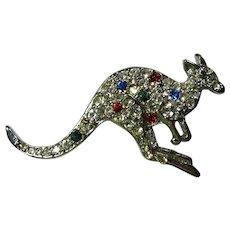 Vintage Multicolored Crystal Kangaroo Brooch