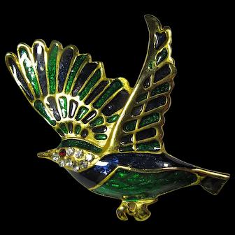Vintage Green & Black Enamel Bird Brooch