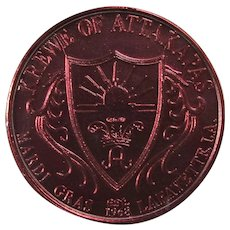 1987 Krewe of Attakapas Lafayette Mardi Gras Doubloon in Lucite