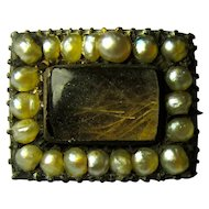 Tiny Victorian Mourning Brooch With Hair & Seed Pearls