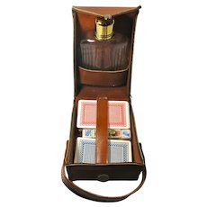 Vintage Flask & Poker Set in Leather Carrying Case