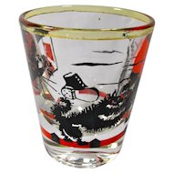 1950s Black Cat Good Luck Shot Glass