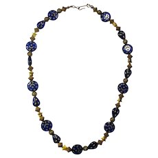 Gilded Cobalt Glass Moon & Stars Necklace From India