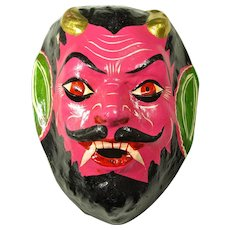 Vintage Day of the Dead Devil Mask from Mexico