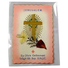 Vintage Holy Relic Card - Flowers From Garden of Gethsemane, Jerusalem