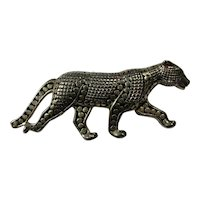 Vintage Cutout Silver Panther Brooch
