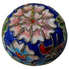Vintage Cloisonne Lotus Pillbox From China
