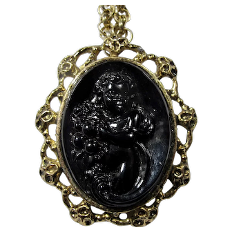 Vintage Black Jet Infant Bacchus Necklace/Brooch