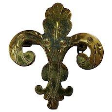 Vintage Gold-Filled Fleur de Lis Brooch by New Orleans Silversmiths