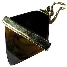 Vintage Black & Tortoiseshell Lucite Pyramid Necklace/Pendulum