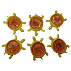 1970s New Orleans Souvenir Turtle Coasters (Set of 6)