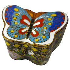 Vintage Cloisonne Butterfly Pillbox or Trinket Box