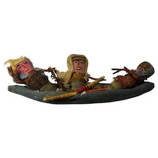 Vintage Chancay Peruvian Burial Dolls in Boat