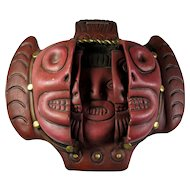 Aztec Three Faces of Man Clay Mask from Mexico