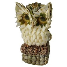 Vintage Seashell Art Owl Figurine