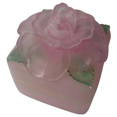Vintage Frosted Pink Rose Trinket Box