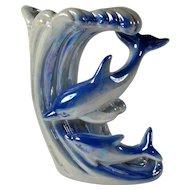 Vintage Lusterware Dolphins & Wave Vase
