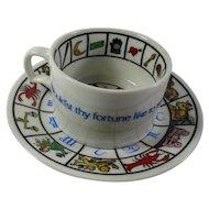 Vintage Porcelain Fortune Telling Teacup & Saucer