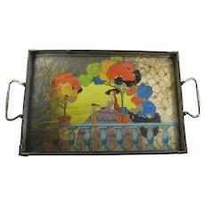 1920s Vanity Tray With Art Nouveau Lady & Garden Scene