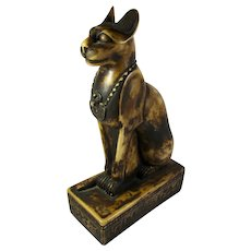 Large Vintage Bast Egyptian Cat Goddess Statue From Egypt