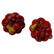 1950s Acrylic Fruit Bowl Clip-On Earrings