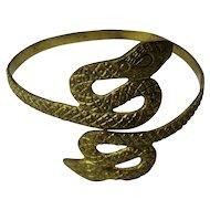 Vintage Etched Brass Snake Armlet