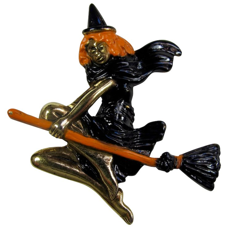 vintage ajc witch on broomstick halloween brooch