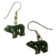 Vintage Alaskan Jade Bear Earrings
