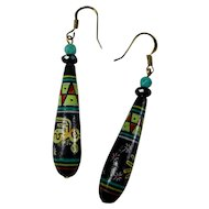 Vintage Hand-Painted Clay Earrings From Peru