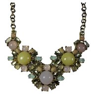 Vintage Loft Bib Necklace With Pastel Glass Cabochons