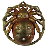 Antique Brass Spider Brooch With Red Enamel & Paste Stones