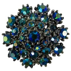 Krementz Blue-Green Aurora Borealis Crystal Brooch In Original Box
