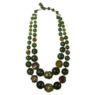 1970s Double Strand Green & Gold Lucite Choker