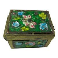 Vintage Enamel & Brass Ring Box From China