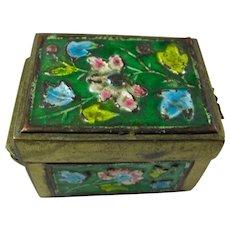 Vintage Enamel & Brass Ring Box From China