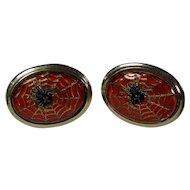 Stunning Enamel/Glass Spider & Spiderweb Cufflinks