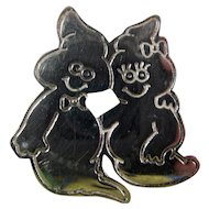 Vintage Taxco Silver Ghost Couple Brooch or Pendant