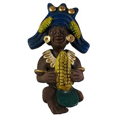 Vintage Mayan Maize God Clay Statue