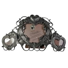 Vintage Hearts Triptych Pewter Picture Frame