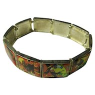 Vintage Halloween Panel Bracelet With Witches, Cats, & Pirates