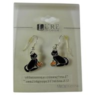 Vintage Halloween Black Cat & Pumpkin Earrings On Original Card