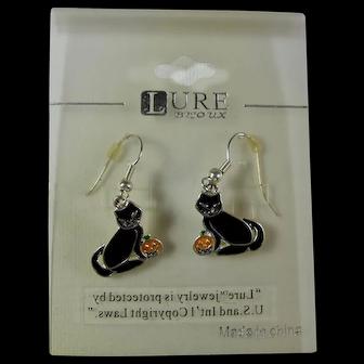 Vintage Halloween Black Cat & Pumpkin Earrings On Original Card