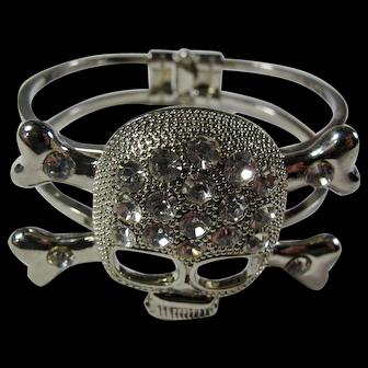 1980s Crystal Skull Clamp Bracelet