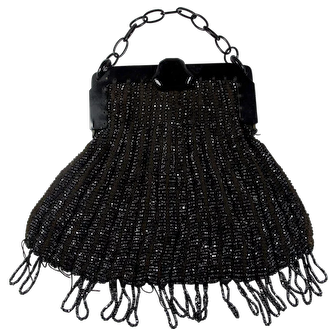 1920s Black Beaded Flapper Handbag With Celluloid Handle AS IS