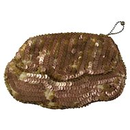 1940s Prentice Copper Sequined Zip Coin Purse AS IS