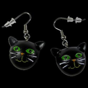 Vintage Black Cat Head Earrings