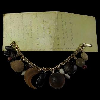 Vintage Hawaiian Good Luck Charm Bracelet On Original Handwritten Card
