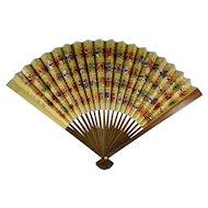 Vintage Japanese Folding Fan With Classical Kabuki Masks