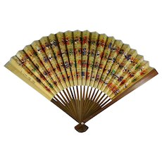 Vintage Japanese Folding Fan With Classical Kabuki Masks