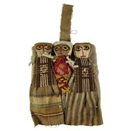 Vintage Chancay Peruvian Burial Dolls With Hanger + Knitted Animal